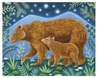 Bears in the Moonlight, Mama Bear and Cub Art Print, Nursery Art, 8 x 10 Art Print