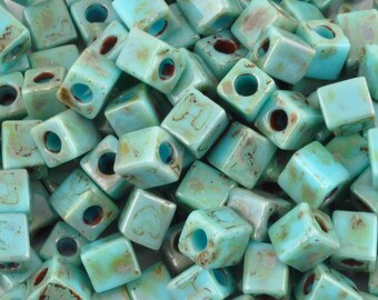 Seed Beads-4mm Cube-4514 Opaque Turquoise Picasso-Miyuki-15 Grams