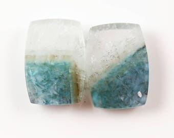 Paraiba Tourmaline in Quartz Cabachon Pair - 19 mm - Quartz Cabachon Pair - Tourmaline in Quartz