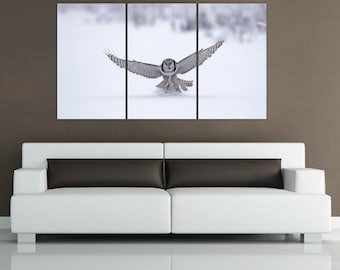 """3 panel split (triptych) Canvas Print of white awol in snow hunting. 1.5"""" deep frames , for interior home or office room decorwall art"""