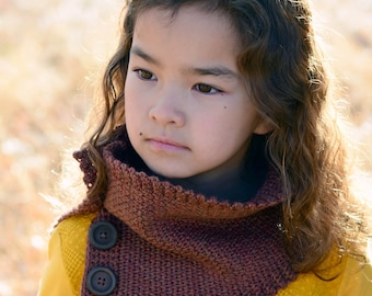 CROCHET PATTERN - Cozy Cowl - crochet cowl pattern buttoned cowl knit look crochet (Toddler, Child, Adult sizes) - Instant PDF Download