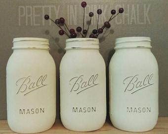 Set of 3 Quart Sized Ball Mason Jars! Cream White & Distressed! Perfect for Weddings Showers, Centerpieces, Mantel Displays, etc.