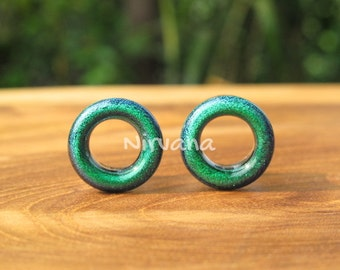 "Dichroic Emerald Green Glass Tunnels 4g 2g 0g 00g 7/16"" 1/2"" 9/16"" 5/8"" 3/4"" 1"" 5 mm 6 mm 8 mm 10 mm 12 mm 14 mm 16 mm 18 mm 20 mm 25 mm"