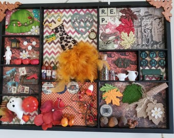 Found items Shadowbox/Collage Fall Theme