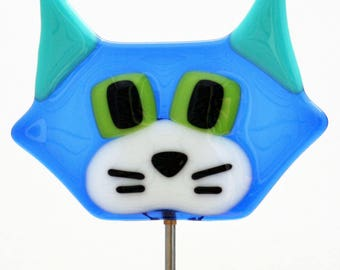Glassworks Northwest - Cute Cat Plant Stake Blue - Fused Glass Garden Art