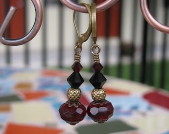Deep Red and Black Swarovski and Czech with Brass Beads and Filigree Earrings