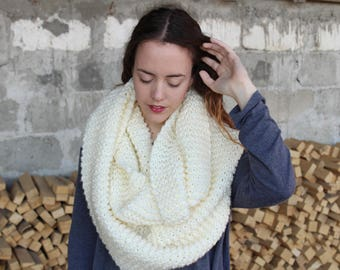 Infinity scarf,Soft White scarf,Knitted scarf,Handmade scarf,White scarf,Winter Fashion,Oversized neck scarf