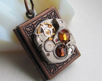 Steampunk book locket necklace watch movement Swarovski crystals Birthday Gift for Her women gift ideas photo picture locket OOAK