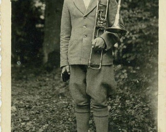 Soldier with trombone antique music photo