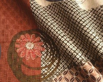 Japanese fabric, traditional pattern, background orange, Brown, beige cotton 110 x 50 (037C)