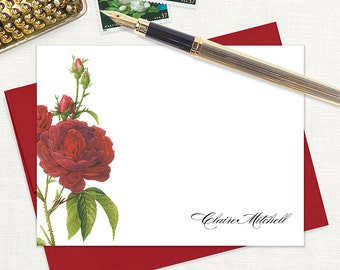 personalized flat note cards - DARK RED ROSES - set of 12 cards - stationery - stationary - flower - botanical - floral - red envelopes