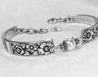 Vintage Spoon Bracelet, White Pearl, Sterling Silver Findings, Customizable Silverware Jewelry, 'Venetian Garden' 1971