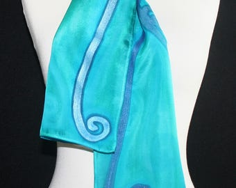 Handpainted Silk Scarf. Teal, Aqua, Turquoise Hand Painted Silk Scarf OCEAN MOOD. Size 8x54. Handmade Birthday Gift, Bridesmaid Gift