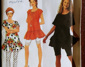 Drop Waist Ruffled Tunic Top or Dress and Leggings Sewing Pattern, Simplicity 7288, Sizes Petite to XL, Vintage 1991, UNCUT Complete