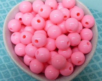 50x Sunny Hot Pink Solid Colour Resin Globe Round Beads 12mm