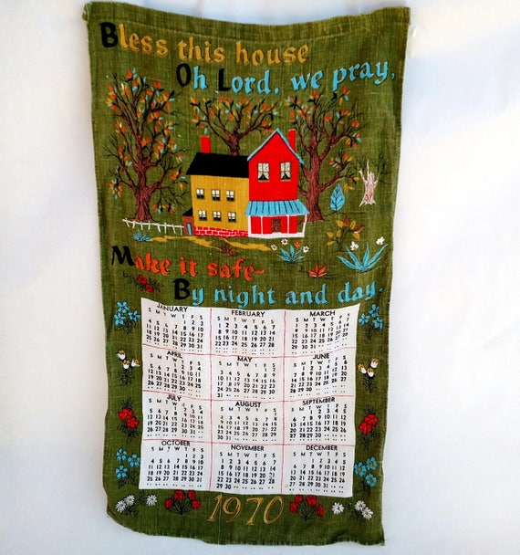 Vintage 1970 Linen Tea Towel Calendar Bless This House