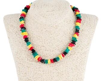 Rasta Puka Chip Shells Necklace