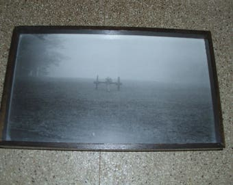 Handmade Decorative Serving Tray with the Old Black and White Panoramic Photograph of a Civil War Cannon on a Field