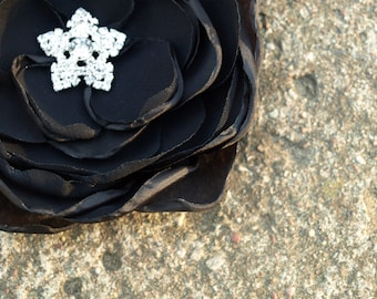 Black Flower Brooch or Hair Clip