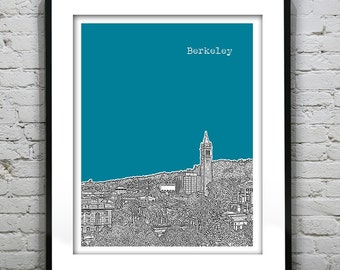 Berkeley Skyline Poster Art Print California CA