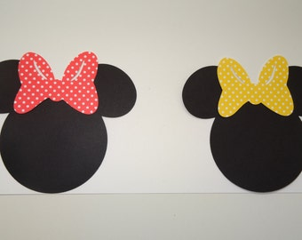 """2""""- 7"""" Minnie Mouse Head Cut-Outs with Bows"""