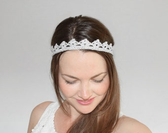 Lace Bridal Crown, Silver Crown Headpiece, Wedding Headband, Silver Headband Adult, Bridal Headband, Flower Girl Tiara, Bachelorette Crown