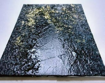 Abstract Acrylic Black Gold Wall Art Painting on Canvas Small 5 x 7 Textured Original Painting Art Gift