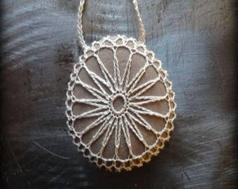 On Sale, Artist Necklace, Crocheted Lace, Stone, Gift, Original, Latte Foam, Shades of Ecru, Rock Handmade, Nature Unique, Bohemian, Monicaj
