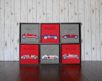Vintage Race Car Bin Set, Retro Race Car, Race Car Decor, Race Car Nursery, Boys Room Decor, Baby Boy Decor, Nursery Storage, Toy Organizer