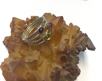 Sterling Silver Banded Ring with Dark Pink Light Pink and Green Tourmaline Size 7 by oldmanwithers