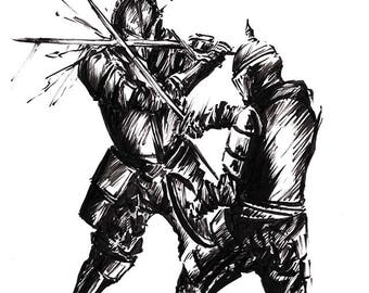 Dueling Knights Inked-Print
