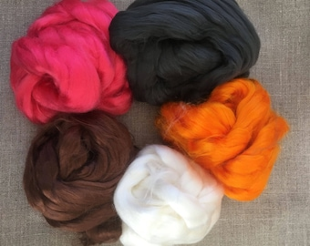 Dyed Bamboo Roving Starter Kit Vegan Fiber 100 gr Needlefelt Spinning Pink Brown Orange Black White Spin Flora plant fibre Free Shipping