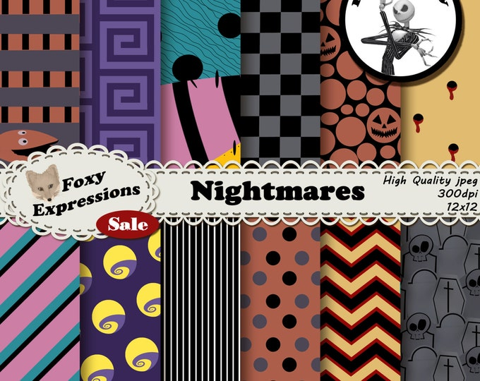 Nightmare Digital Scrapbook paper comes in haunting designs; tombstones, pumpkins, stitched rag dolls, moons, snakes, vampire bites & more