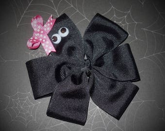 Halloween~Googly Eye Spider~ Boutique Hair Bow~Pink Dot~