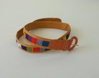 vintage tapestry belt   navajo print belt   bohemian gypsy belt   vintage 1970s belt   thin leather belt   tribal print