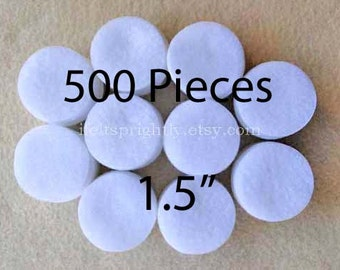 1.5 Inch Die Cut Felt Circles in White, Bulk Set of 500