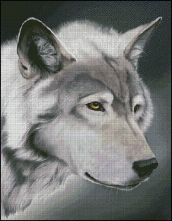 Gráfico PDF Punto de Cruz Lobo Gris Mascota Perro en Punto