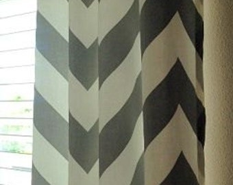 Gray and White Chevron Curtains  Grommets  63 72 84 90 96 108 120 Long x 25 or 50 Wide