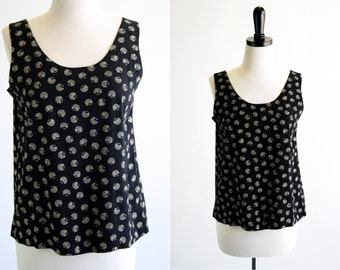 Black and Cream Seashell Inspired Woman's Vintage Tank Top