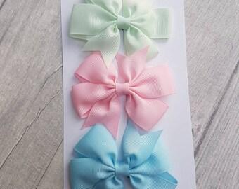 Set of 3 pastel pinwheel bows