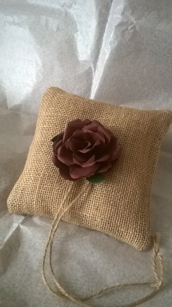 Burlap Ring Bearer Pillow With Brown Rose Ring Cushion Made