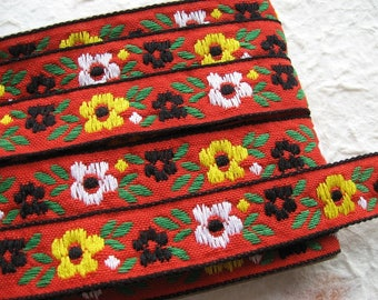 "Jacquard cotton ribbon trim - woven Jacquard trim - floral Jacquard ribbon - 0.6"" wide (15mm) - floral ribbon - boho ribbon PER METRE"