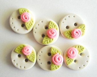 Button Tiny Rose Buds handmade polymer clay buttons ( 6 )