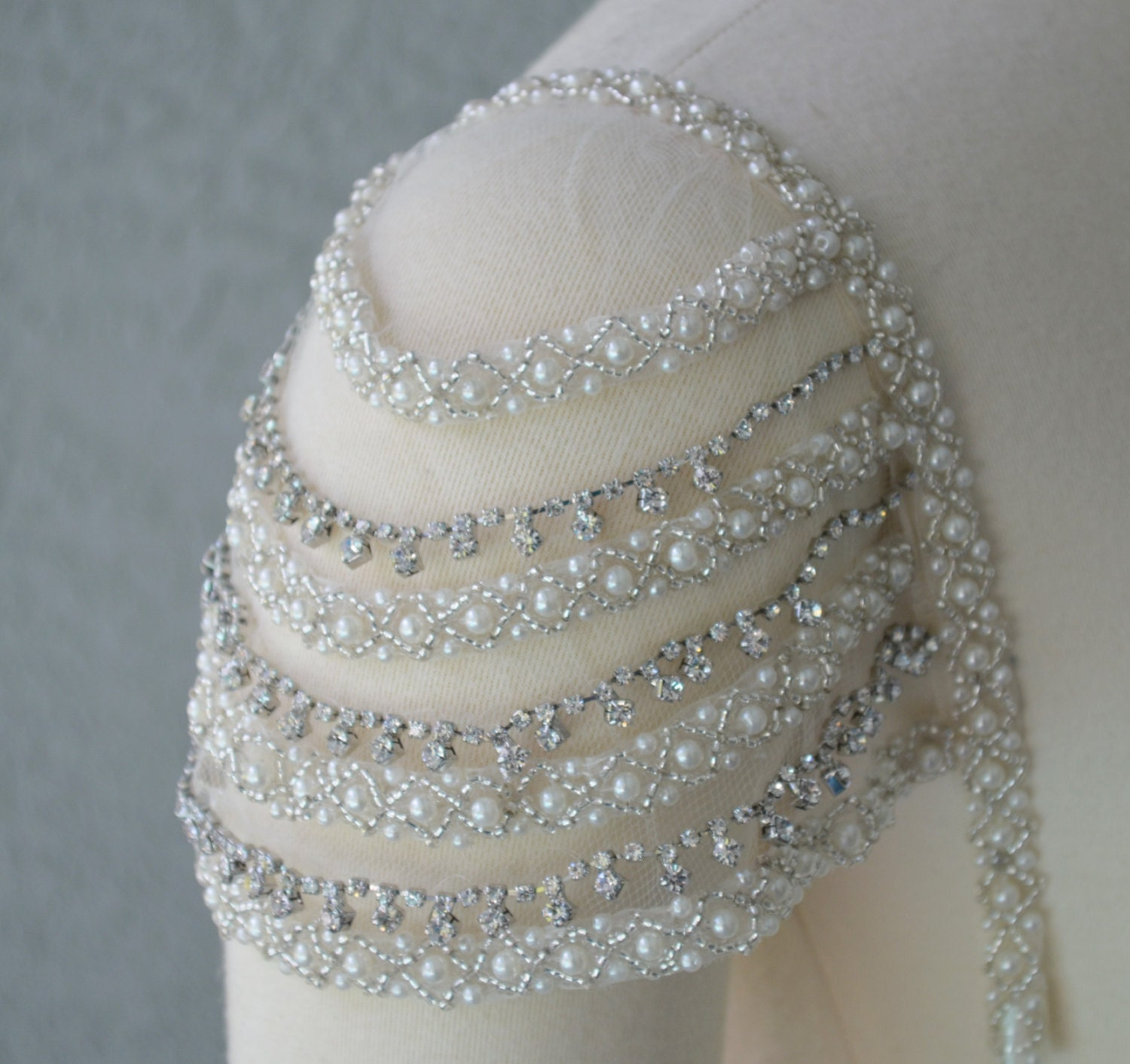 Adding Cap Sleeves Wedding Dress To: Detachable Add-on Beaded Ivory And Rhinestone Cap Sleeves Set