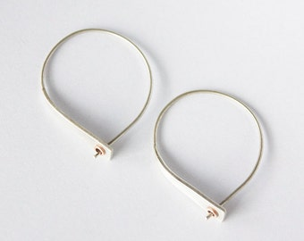 Pass through hoop earring- sterling silver hoop earring with copper tube accent- lightweight hoop earring- casual modern everyday earring