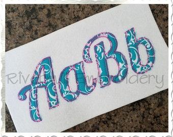Blanket Stitch Lobster Applique Machine Embroidery Font Alphabet - 4 Sizes