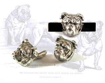 Set of Cufflinks Neo Victorian English Bulldog Head Antique Silver Cuff Links with Matching Tie Bar Inlaid in Hand Painted Black Enamel