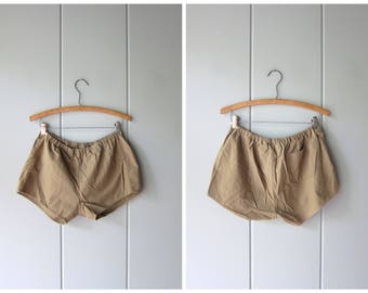 80s Cotton Shorts Vintage Board Shorts Elastic Waist Thin Cotton Shorts Minimal Tomboy Shorts Beach Shorts Basic 70s Shorts Womens Small