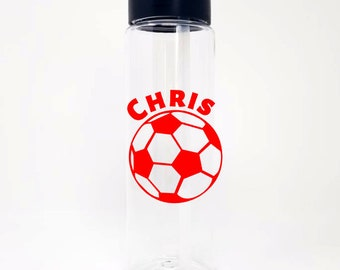 Personalized Soccer Ball 24oz Water Bottle With Flip Up Lid - 20 Colors To Choose From - Custom - Name