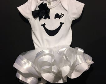 Girl Ghost- Ribbon Trimmed Tutu- Halloween Costume- Onesie/T-Shirt- Embroidered